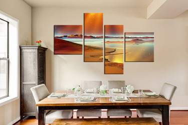 4 piece multi panel canvas, dining room huge pictures, beach artwork, ocean photo canvas, brown huge canvas art
