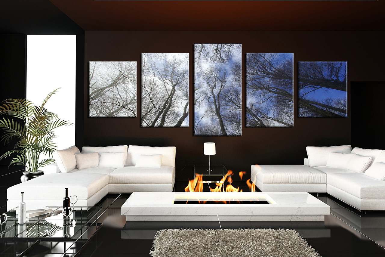 5 Piece Huge Pictures Blue Sky Wall Decor Panoramic Scenery Multi