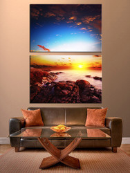 2 piece canvas wall art, sunset wall decor, living room large pictures, ocean artwork, blue multi panel art