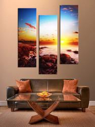 3 piece artwork, living room multi panel art, sunset photo canvas, blue large pictures, ocean canvas print