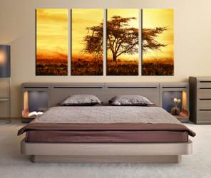 4 piece canvas wall art, bedroom canvas print, scenery multi panel canvas, tree photo canvas, scenery decor