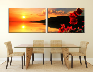 2 piece wall decor, dining room artwork, orange multi panel art, flower large pictures, panoramic canvas photography