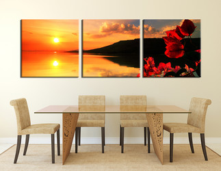 3 piece canvas print, dining room wall decor, orange multi panel canvas, flower large pictures, panoramic canvas photography
