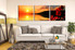 3 piece artwork, living room large pictures, orange canvas photography, flower sunrise group canvas, panoramic multi panel art