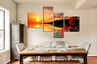 4 piece large pictures, dining room huge canvas print, orange multi panel canvas, ocean art, sunrise photo canvas