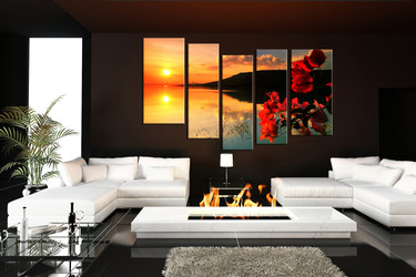 5 piece canvas print, living room multi panel canvas, orange huge canvas art, sunrise wall decor, floral art