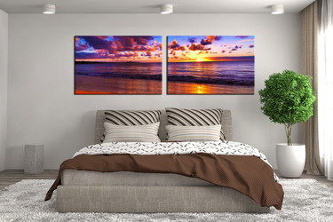 2 piece huge canvas art, bedroom group canvas, purple art, cloudy sky multi panel art, panoramic canvas photography