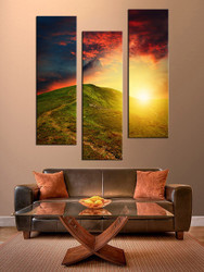 living room multi panel art, 3 piece canvas wall art, landscape multi panel canvas, sunrise art, landscape picture