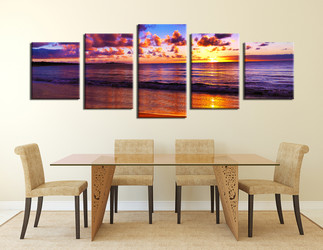 5 piece huge canvas print, dining room artwork, purple wall decor, clouds art, panoramic canvas wall art