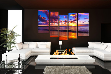 5 piece wall decor, living room photo canvas, purple huge canvas print, clouds artwork, ocean huge pictures