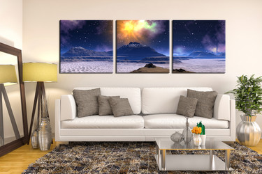living room wall art, 3 Piece huge pictures, landscape multi panel art, mountain wall art, landscape tree artwork
