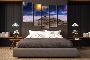bedroom canvas art prints, 5 piece large pictures, mountain tree multi panel canvas, landscape huge pictures