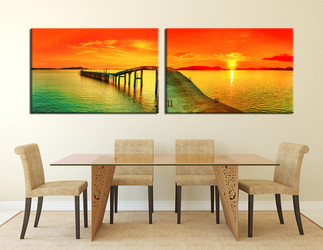 2 piece large pictures, dining room canvas print, orange wall decor, ocean photo canvas, ocean artwork