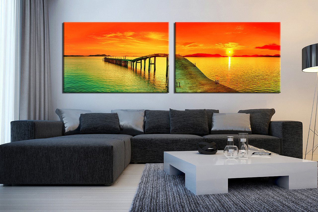 2 piece canvas photography panoramic sea wall decor ocean large pictures orange sky multi panel art ocean wall decor