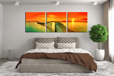 3 piece canvas print, bedroom multi panel canvas, ocean photo canvas, orange artwork, panoramic wall decor