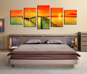 5 piece photo canvas, bedroom canvas wall art, orange artwork, sky multi panel art, panoramic huge canvas print