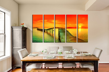 5 piece huge canvas art, dining room canvas wall art, orange photo canvas, sky canvas print, ocean bridge art