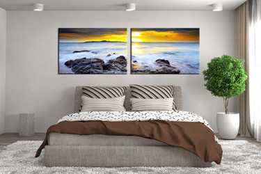 2 piece large pictures, bedroom wall decor, yellow sky group canvas, ocean art, panoramic multi panel art