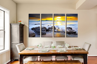 4 piece canvas print, dining room group canvas, ocean art, yellow huge canvas art, beach canvas photography