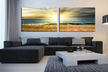 2 piece huge pictures, living room canvas print, ocean artwork, yellow multi panel canvas, panoramic huge canvas art