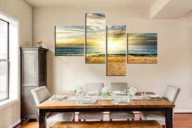 4 piece huge canvas art, dining room artwork, ocean large pictures, sea art, sunrise huge canvas print