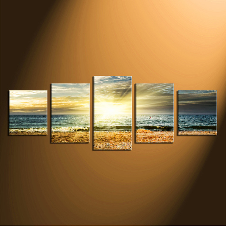 5 piece canvas wall art, home decor, ocean large pictures, yellow artwork, panoramic huge canvas print
