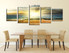 5 piece multi panel canvas, dining room group canvas, yellow large pictures, ocean wall decor, panoramic canvas photography