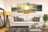 5 piece group canvas, living room art, yellow huge canvas print, ocean huge pictures, panoramic multi panel art