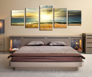 5 piece canvas print, bedroom art, yellow canvas photography, ocean artwork, panoramic photo canvas