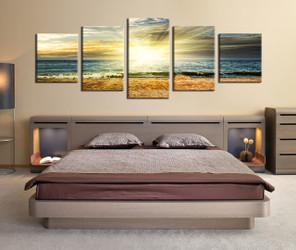 5 piece canvas print, bedroom art, yellow canvas photography, ocean artwork, panoramic photo canvas