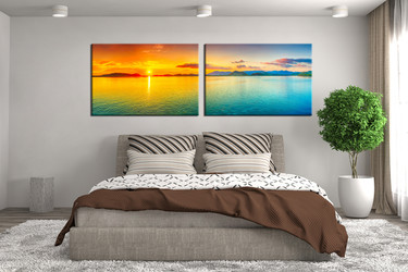 2 piece wall decor, bedroom photo canvas, ocean artwork, orange huge canvas print, ocean multi panel canvas, panoramic canvas print