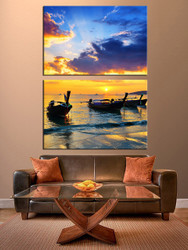 2 piece wall decor, living room group canvas, yellow  canvas photography, boats multi panel canvas
