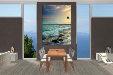 2 piece huge canvas print, dining room canvas print, green artwork, ocean multi panel canvas, sea wall decor