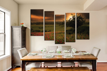 dining room wall art, 5 piece multi panel canvas, green scenery huge pictures, scenery artwork, scenery large pictures