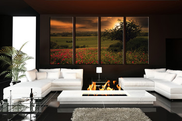 4 piece large pictures, living room multi panel art, green scenery photo canvas, scenery artwork