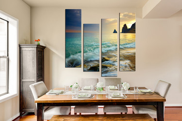 4 piece huge pictures, dining room canvas print, green art, ocean multi panel canvas, mountain canvas photography