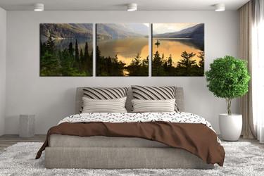 3 piece canvas wall art, landscape green wall art, landscape multi panel canvas, landscape panoramic artwork