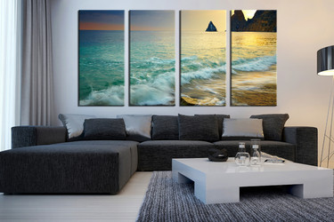 4 piece canvas print, green multi panel art, ocean wall decor, living room artwork, mountain huge pictures