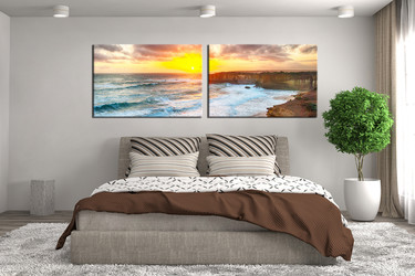 2 piece huge canvas art, bedroom artwork, sea large pictures, sunset art, panoramic multi panel art