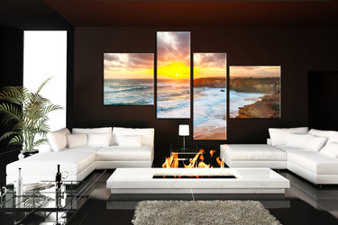 4 piece photo canvas, living room large pictures, ocean artwork, sea huge canvas print, sunset artwork