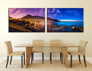 2 piece canvas wall art, dining room multi panel canvas, sea group canvas, ocean art, blue canvas photography