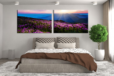 2 piece canvas art prints, bedroom art, landscape large canvas, blue canvas wall art, mountain canvas print, panoramic artwork
