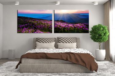 2 piece canvas art prints, bedroom art, landscape large canvas, blue canvas wall art, mountain canvas print, panoramic artwork
