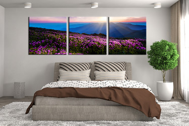 3 piece art, bedroom canvas print, landscape group canvas, blue artwork, mountain multi panel canvas, panoramic large pictures