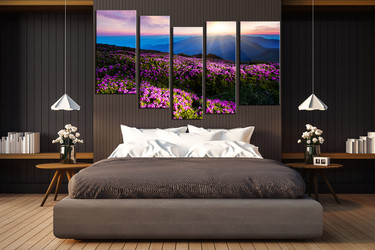 5 piece huge canvas art, bedroom large pictures, landscape canvas art prints, blue large canvas, mountain art, sky canvas art prints