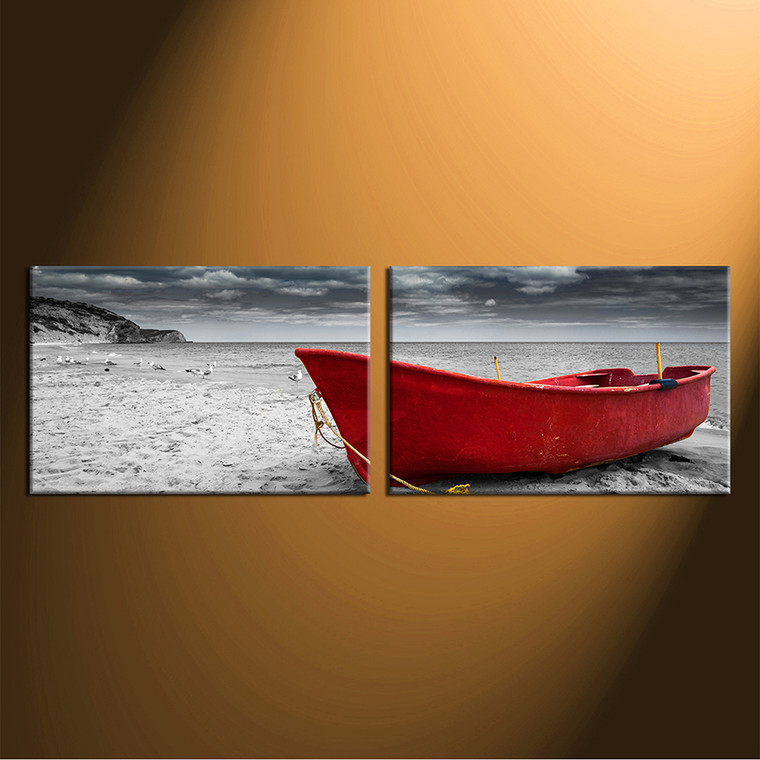2 piece canvas wall art, home decor, black and white multi panel canvas, ocean artwork, boat canvas photography