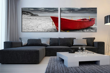 2 piece multi panel art, living room group canvas, black and white canvas print, sea wall decor, boat art