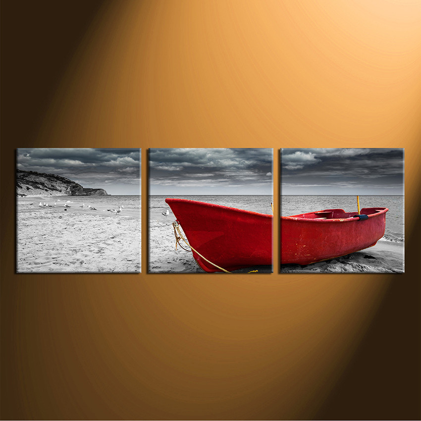 3 Piece Huge Canvas Print Black And White Canvas Wall Art Ocean