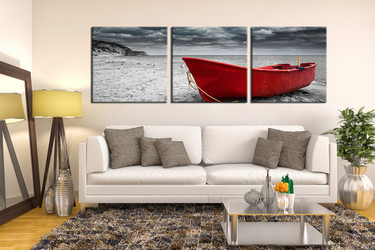 3 piece multi panel canvas, living room artwork, black and white huge pictures, ocean art, panoramic canvas print
