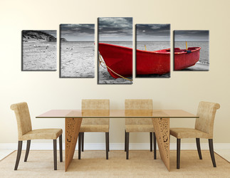 5 piece canvas print, dining room multi panel canvas, black and white large pictures, ocean group canvas, boat panoramic canvas photography